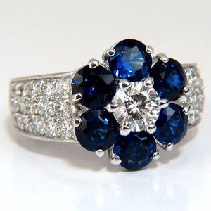 3.96ct natural sapphires diamond cluster ring 14kt